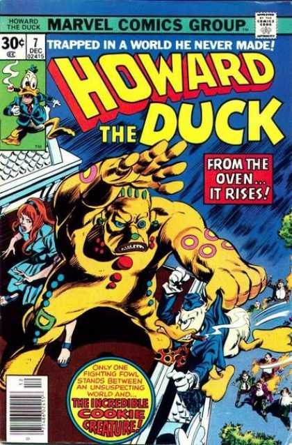 Howard the Duck 7 - Trapped In A World He Never Made - From The Oven It Rises - Howard Fighting A Cookie - Woman Behind Giant Cookie Monster - Cookie Monster Howard In Hand - Gene Colan