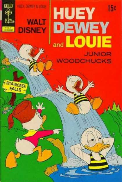 Huey, Dewey and Louie: Junior Woodchucks 17 - Gold Key - Walt Disney - Ducks - Waterfall - Donald
