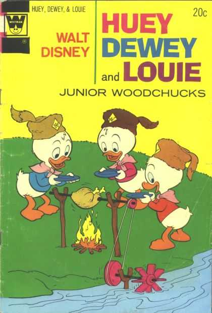 Huey, Dewey and Louie: Junior Woodchucks 26 - Donalds Nephews - Frying Meat - River - Fire - Plates