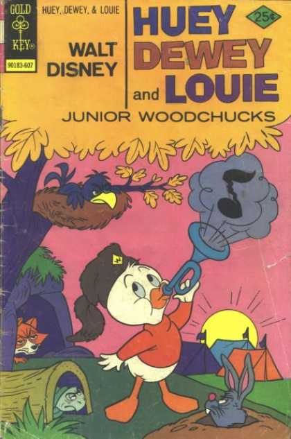 Huey, Dewey and Louie: Junior Woodchucks 39 - Gold Key - 25c - Musical Note - Duck Blowing Horn - Fox