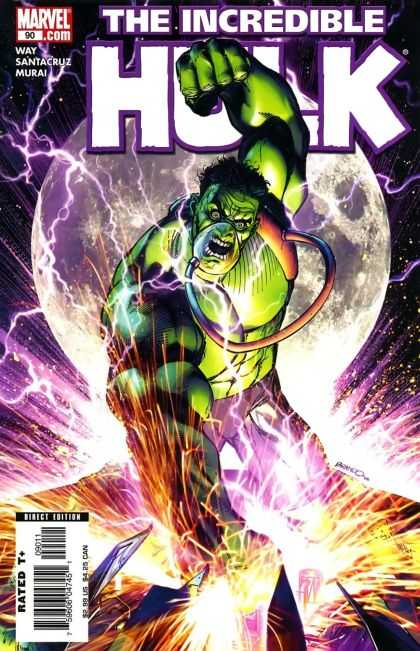 Hulk (2000) 90 - Hulk - Moon - Fist - Lightening - Night Sky - Brandon Peterson