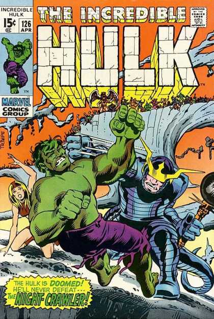 Hulk 126 - The Incredible Hulk - 126 April - Marvel Comics Group - The Hulk Is Doomed - Hell Never Defeat Night Crawler