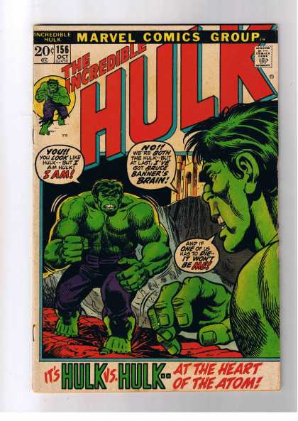 Hulk 156 - The Incredible - Marvel Comics Group - Hulk Vs Hulk - Bruce Banner - At The Heart Of The Atom