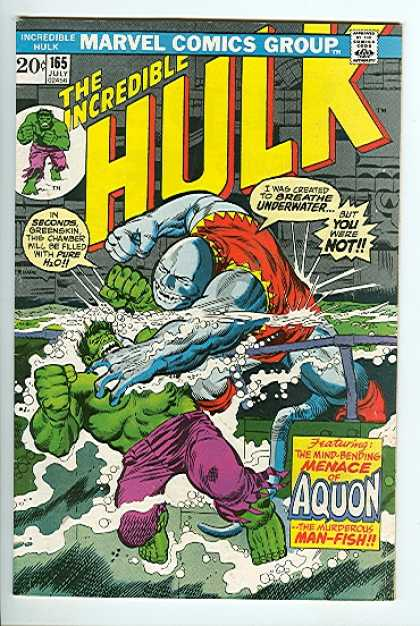 Hulk 163 - Man-fish - Aquon - Greenskin Pushin Hulk Underwater - Mind Bending Menace Of Aquon - Hulk Fighting