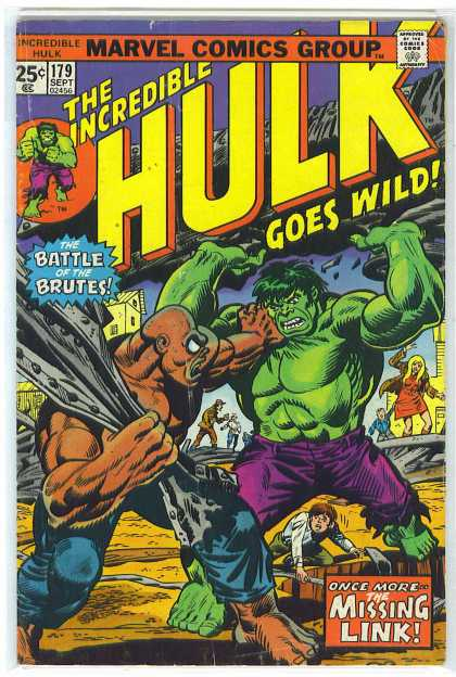 Hulk 179 - Marvel Comics Group - Approved By The Comics Code Authority - 179 Sept - The Incredible - Battle