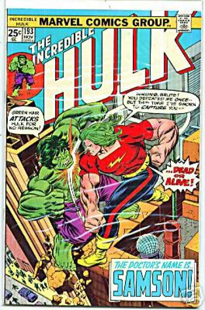 Hulk 193 - Fight - Superheroes - Green Hair - Punch - Rooftop