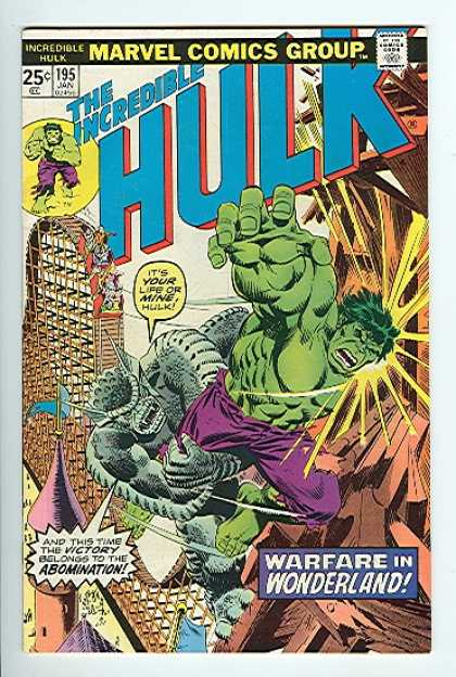 Hulk 195 - Marvel Comics Group - 25c - 195 Jan - Warfare In Wonderland - Abomination