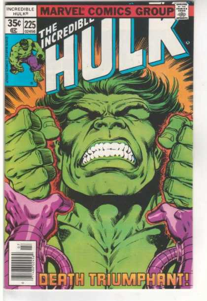 Hulk 225 - Hulk Grimacing - Clenched Fists - Orange Glow - Death Triumphant - Wrists Held By Purple Mechanical Hands - Josef Rubinstein