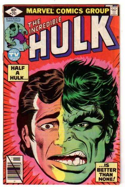 Hulk 241 - Hulk - Half Man Half Beast - Green Face On One Side - Green Hair - Regular Man On Left Side