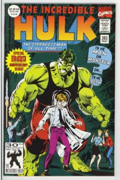 Hulk 393 - 30th Anniversary - Bruce Banner - Green Hulk - Scared People - Special 30th Anniversary Issue - Dale Keown