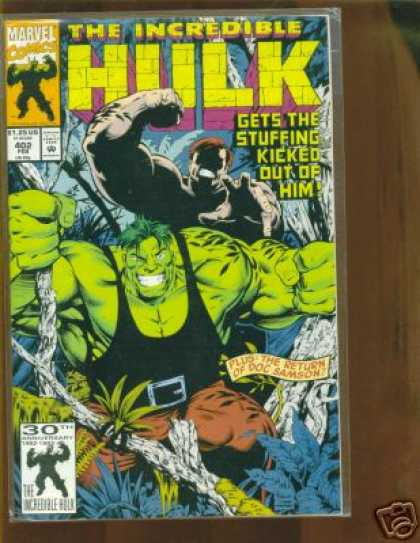 Hulk 402 - Doc Samson - Marvel - Stuffing - Kicked - Him - Gary Frank