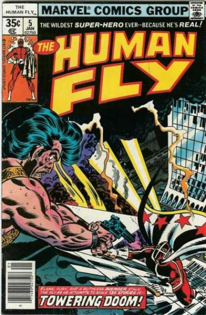 Human Fly 5 - Gun - Building - Stars - White Gloves - Red Uniform - Joe Sinnott
