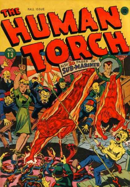 Human Torch 13 - Sub-mariner - Flames - Gunfire - Ropes - Tied Up - Alex Schomburg