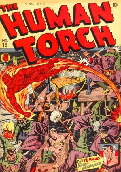 Human Torch 15 - Sub-mariner - Criminals - Furnace - Victim - Burning - Alex Schomburg
