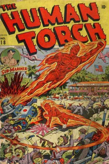 Human Torch 18 - Sub-mariner - Tank - American Flag - Mac Arthurs Headquarters - Trees