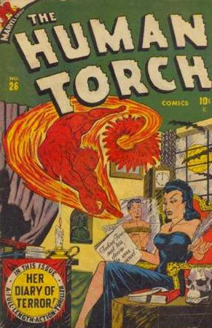 Human Torch 26 - Marvel Comics - Grandfather Clock - Fire - Bat - Moon