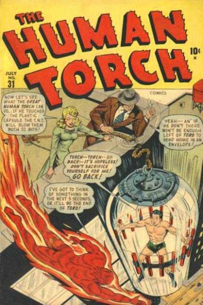 Human Torch 31 - Brown Suit - Fire - Rope - Woman - Man