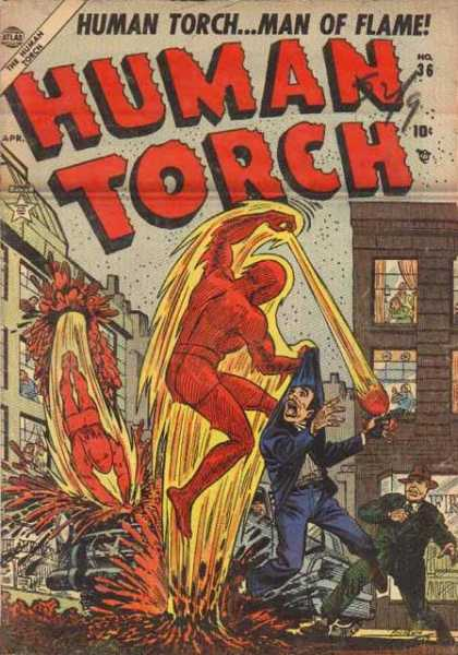 Human Torch 36 - Man Of Flame - Atlab - Fire - Cap - Blue Shirt