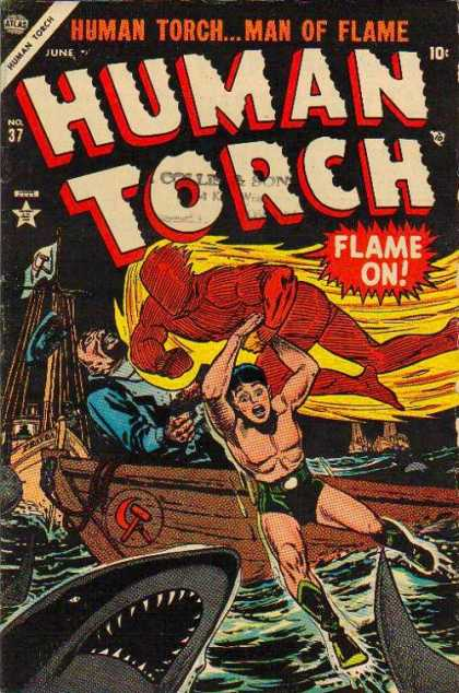 Human Torch 37 - Flame On - Rescue - Boat - Sharks - Commusim