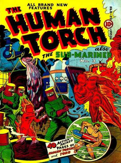 Human Torch 4 - Fire - Molten Steel - Villians - Rope - Submarine - Alex Schomburg, Skottie Young