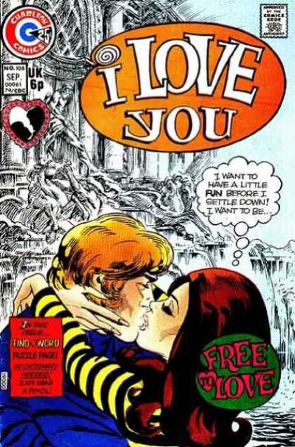 I Love You 108 - Free To Love - Heart - Kiss - Find The Word - Charlton Comics