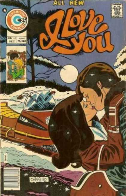 I Love You 115 - Kiss - Snowmobile - Winter - Moon - Cappello