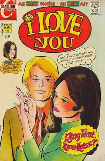 I Love You 96 - Charlton Comics - All New Stories - All New Art - Free Pin-up Post Of Susan Dey - Ring First Love Later
