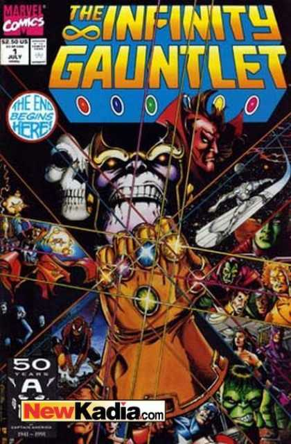Infinity Gauntlet 1 - Marvel Comics - End Begins Here - Gemstones - Gold - Skull - George Perez