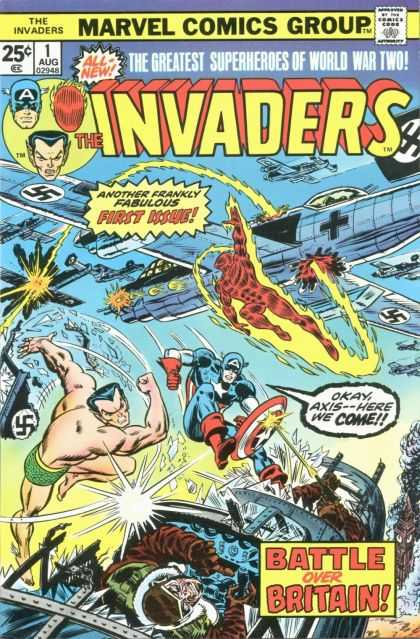 Invaders 1 - Marvel Comics Group - Approved By The Comics Code - Captain America - Plane - Human Torch