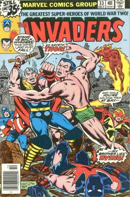 Invaders 33 - So Saveth Thor - Stand Ye Bak Invaders - The Greatest Super-heroes Of World War Two - And While Youre Holding Them At Bay - Fighting - Jack Kirby
