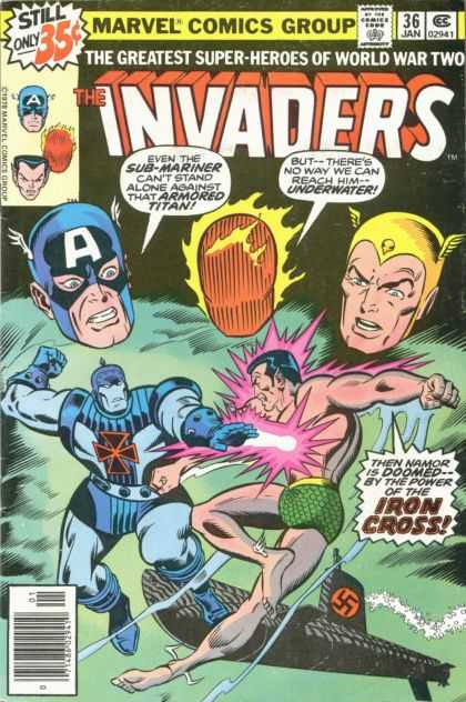 Invaders 36 - Marvel Comics Group - The Greatest Super-heroes Of World War Two - Sub-mariner - Armored Titan - Iron Cross