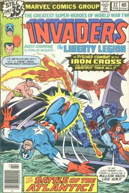 Invaders 37 - Captain America - Girl - Yellow - Man Flying - Fire