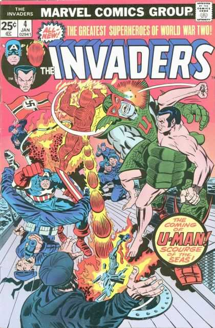Invaders 4 - Superheros - Marvel Comics Group - U-man - World War Two - All New - Jack Kirby