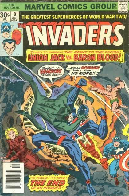 Invaders 9 - Union Jack - Baron Blood - Vampire - Fight - Finish - Jack Kirby