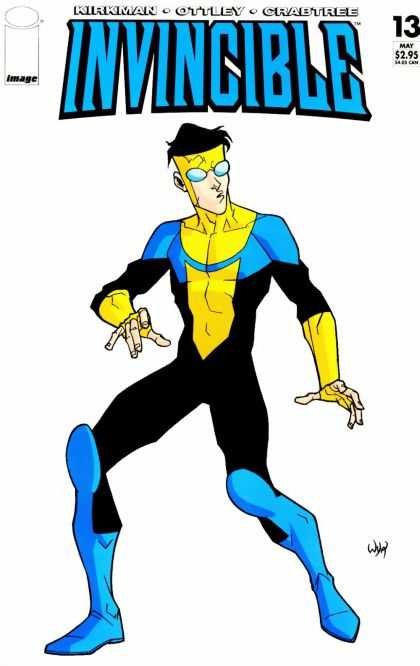 Invincible 13 - Superhero - Costume - Glasses - Blue Boots - Yellow Gloves