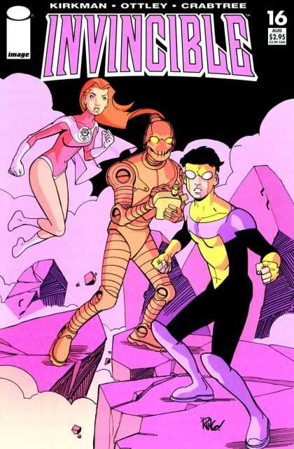 Invincible 16 - Hover Girl - Orange Tin Man - Making Notes - Fight Ready - Looking - Mike Wieringo