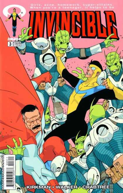Invincible 3 - Green Aliens - Fistfight - Choking - Girls Acne Homework Super-villains - When Youre A Teenager It Helps To Be