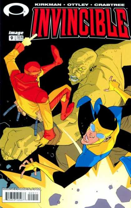 Invincible 9 - Superhuman - Fight - Blue Glass - Fire - Flying