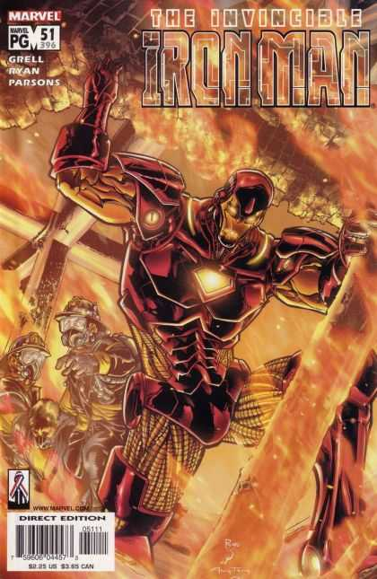 Iron Man (1998) 51 - Fire - Falling Building - Fire Fighters - Invincible - Power