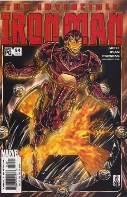 Iron Man (1998) 54 - Fire - Invincible - Armor - Flying - Masked