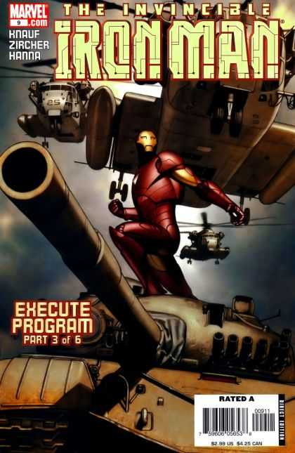 Iron Man (2005) 9 - Helicopters - Tank - Execute Program Part 3 Of 6 - Gloomy Sky - Invincible Man - Adi Granov