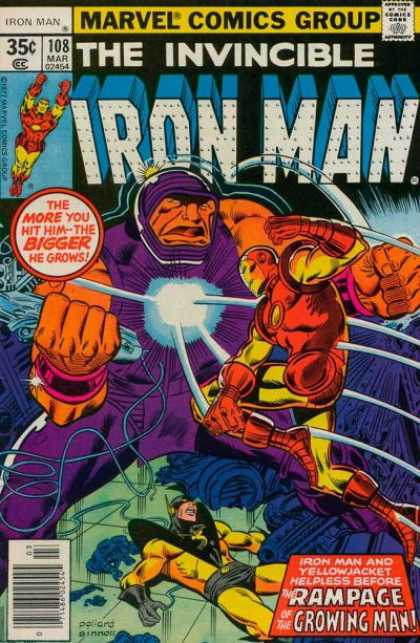 Iron Man 108 - Marvel Comics Group - The More You Hit Him - The Bigger He Grows - Rampage Of The Growing Man - Invinciple - Yellowjacket - Joe Sinnott