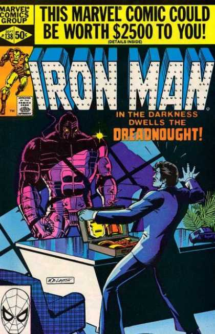 Iron Man 138 - In The Darkness Dwells The Dreadnought - Yellow Sparkle - Windows Shadow - Plant - Briefcase - Bob Layton