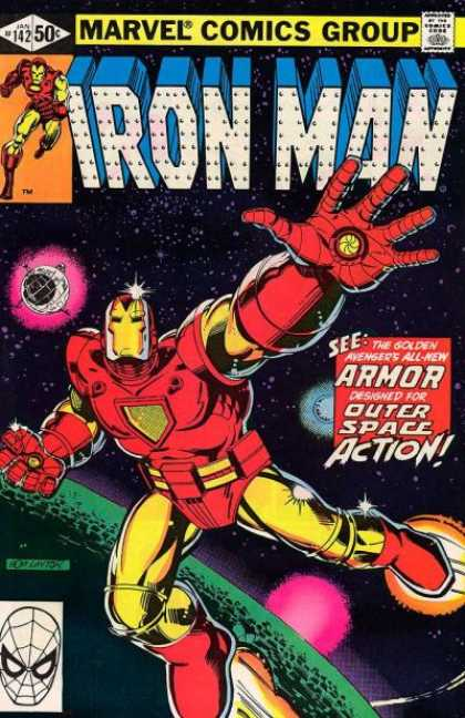 Iron Man 142 - Golden Avenger - Outer Space Action - Planets - Stars - Armor - Bob Layton