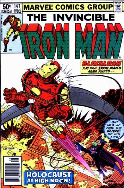 Iron Man 147 - The Buildings Are Under Fire - The Iron Man Tied With Rope - But Hes In For The Ride Of His Life - Holocaust All High Noon - Some One Pulling The Rope In Down When The Iron Man Flying - Bob Layton