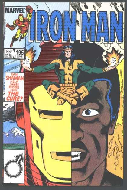 Iron Man 195 - Indian With Flamed Hands - Sitting Shaman - Shaman - James Rhodes - Black Face