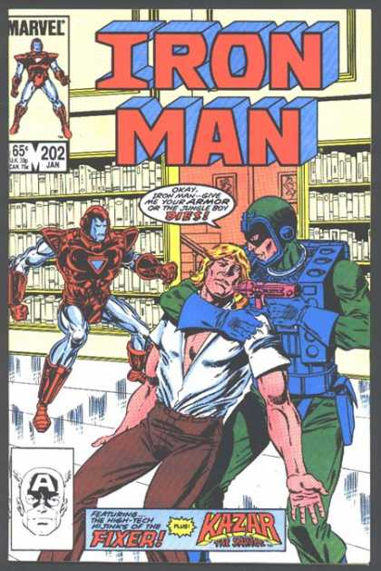 Iron Man 202 - Library - Books - White Silvery Floor - Captain America Face - Man In Peril - Bob Layton