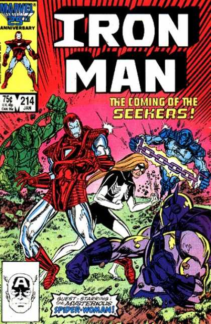 Iron Man 214 - Seekers - Spider Woman - Fighting - Chain - Green Monster