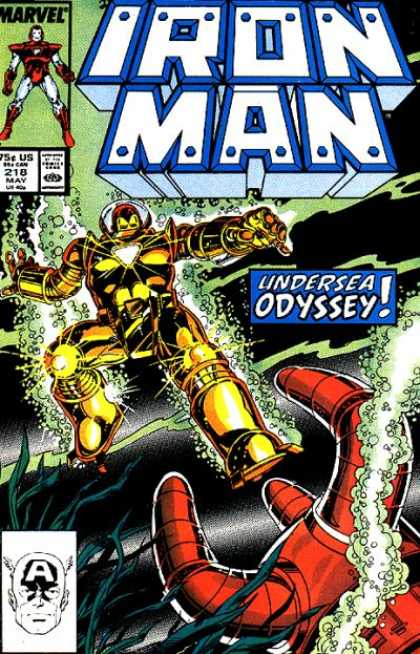 Iron Man 218 - Odyssey - Iron Suits - Gold Suit - Underwater - 75 Cents - Bob Layton