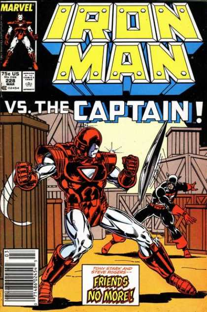 Iron Man 228 - Marvel - The Captain - Friends No More - March Issue - 75 Cents
